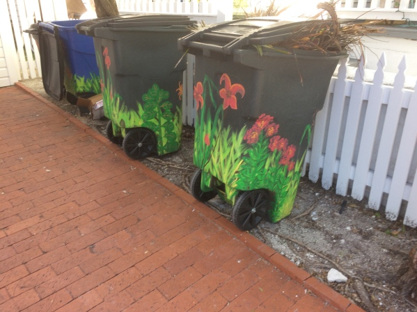 painted trashcans