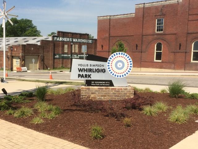whirligig park sign